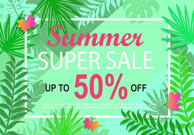 Summer super sale jungle background.