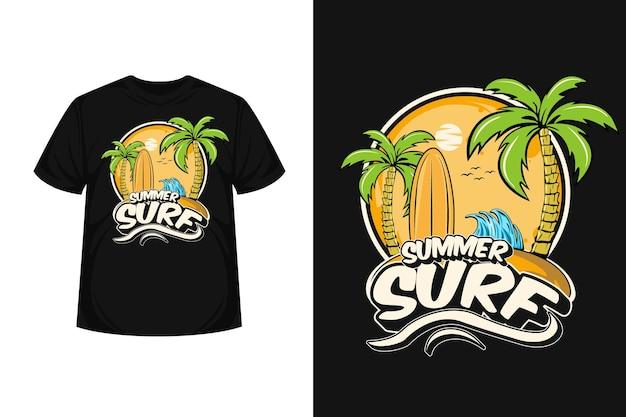 ビーチで夏のサーフ イラスト グッズ t シャツ デザイン