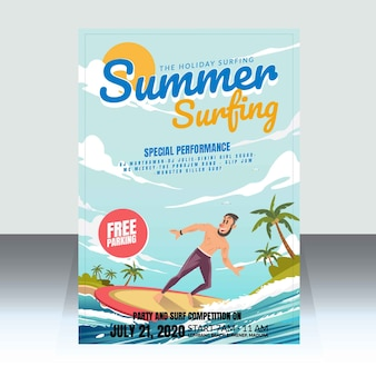 Summer surfing competition poster