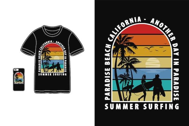 Летний серфинг дизайн для футболки силуэт в стиле ретро