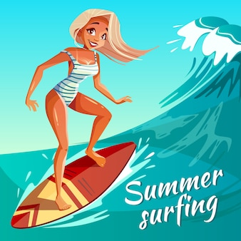 Summer surfing illustration of girl or young woman surfer at board on ocean wave.