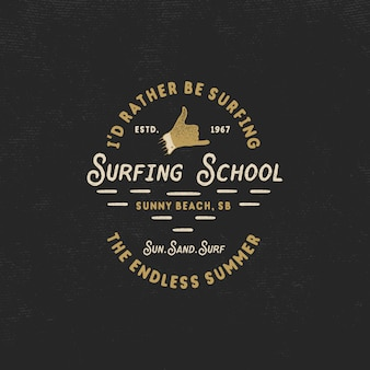 Summer surfing logo with shaka sign and text - i'd rather be surfing. surfing school