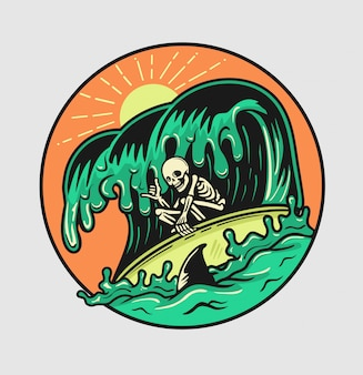 Summer surfing skull enjoy the waves with shark arounding