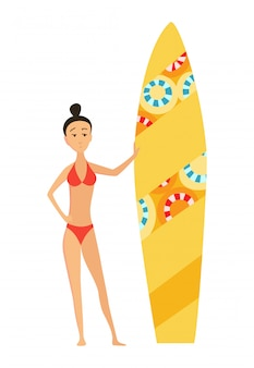 Summer surfing vector illustration of girl or young woman surfer with color surfboard