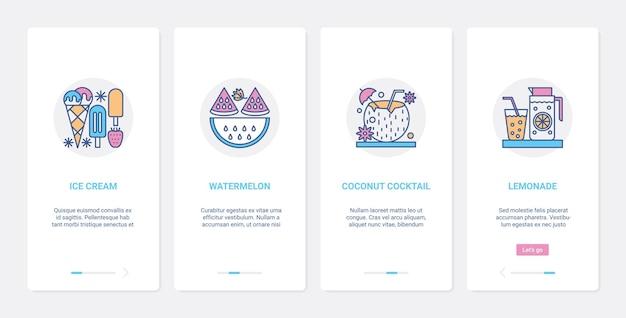 여름 달콤한 음식과 음료. ui, ux 온 보딩 모바일 앱 세트 아이스크림 젤라토, 상쾌한 코코넛 칵테일과 레모네이드 마시기, 신선한 수박 조각