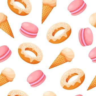 Summer sweet seamless pattern ice cream donate macaroon in flat cartoon style on isolated backgrou
