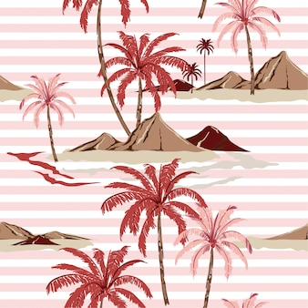 Summer sweet seamless tropical island pattern with light pink stripes