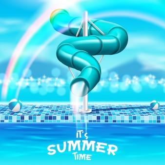 Summer swimming pool slide