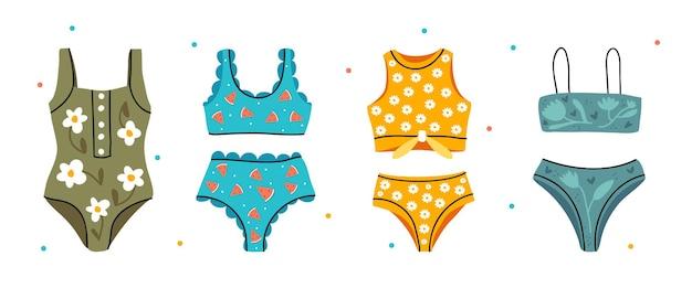 여름 수영복 컬렉션. 비키니 세트.