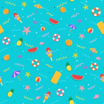 Summer symbol to seamless pattern on blue background.