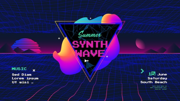 Summer synth retro wave poster with sunrise electronic music neon flyer of the 80s