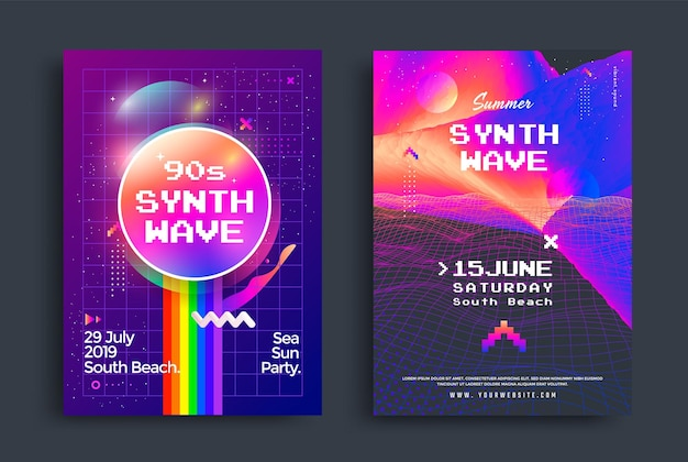 Summer synthwave party set of posters with grid wave. electronic music neon