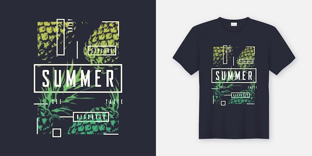 Summer t-shirt and apparel modern design with styled pineapples, typography, print,  illustration. global swatches.