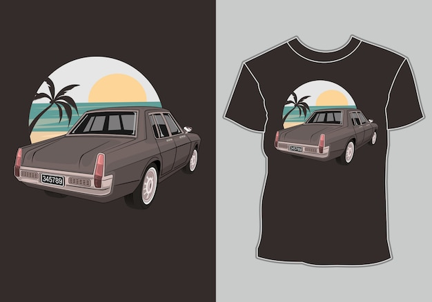 Летняя футболка классика, винтаж, ретро автомобиль на пляже