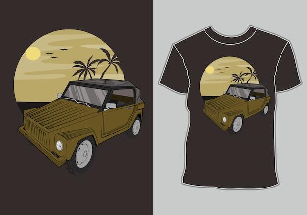夏のtシャツ、クラシック、ヴィンテージ、レトロな車がビーチに