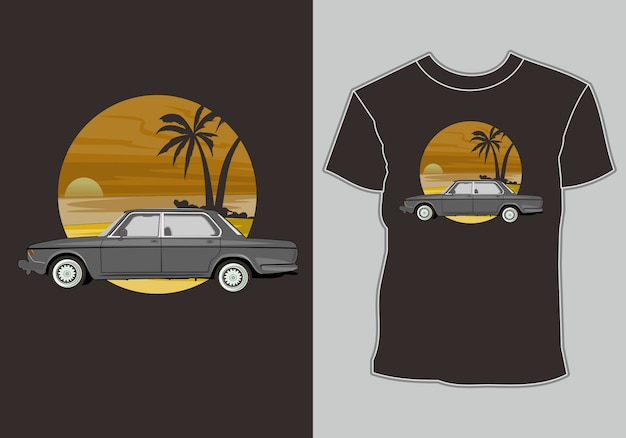 Summer t shirt design, car retro, vintage, classic summer vacation by the beach