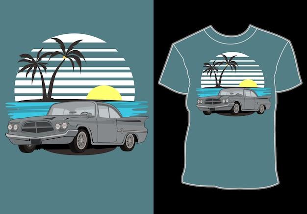 夏のtシャツのデザイン、車のレトロ、ヴィンテージ、ビーチでの古典的な夏休み