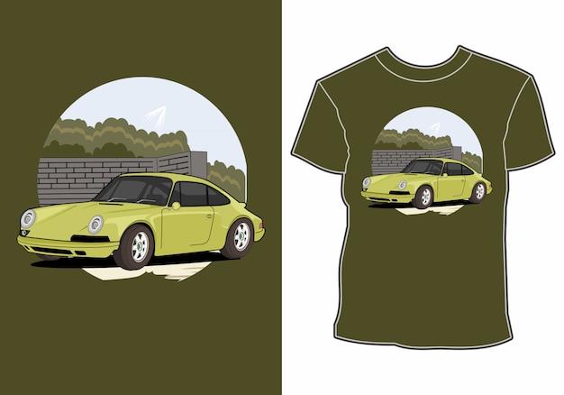 Дизайн летней футболки, отдых на машине на пляже