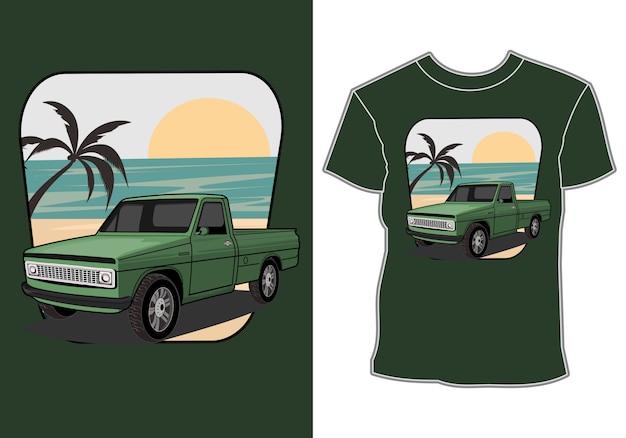 Summer t shirt design,car vacationing at the beach