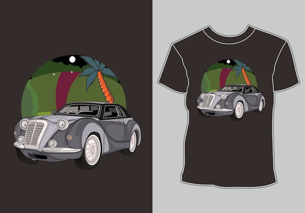Summer t shirt design classic,vintage,retro car in beach