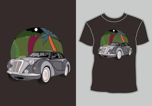 夏のtシャツデザインクラシック、ヴィンテージ、ビーチでレトロ車