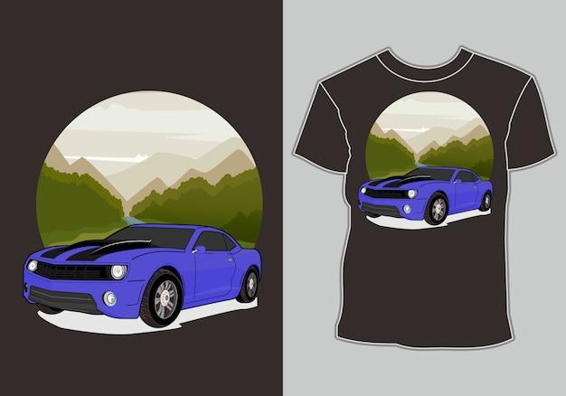 Summer t shirt design,modern sport car background mountain