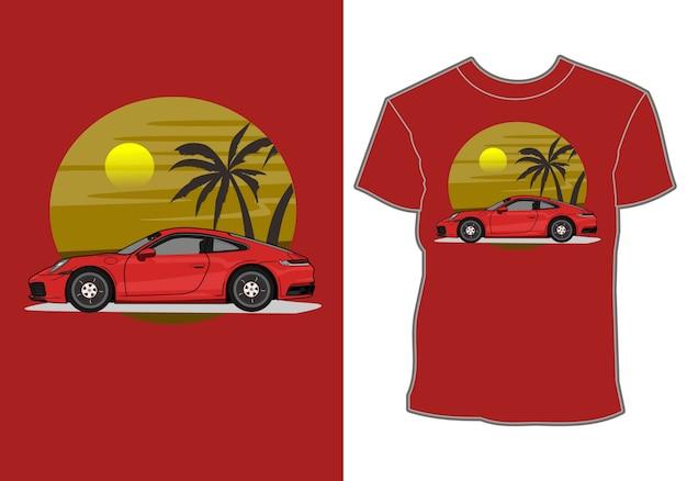 Summer t shirt design,modern sport car vacationing at the beach