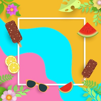 Summer template, banner with ice cream and fruit