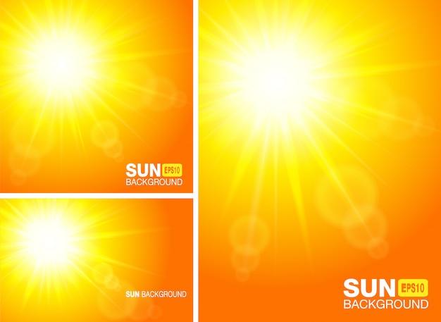 夏テンプレートバナー。太陽光線の背景。