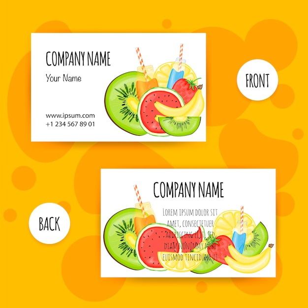 Summer template for business cards. cartoon style. vector illustration.