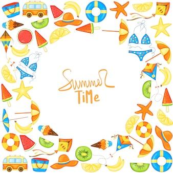 텍스트의 여름 템플릿입니다. 만화 스타일입니다. 벡터 프레임입니다.
