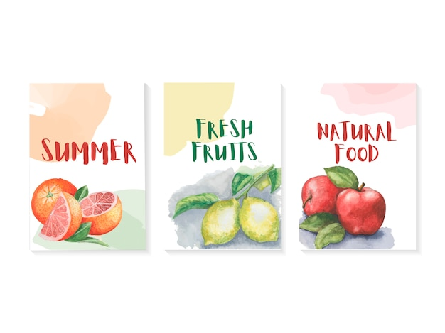 Summer template set with watercolors fruits