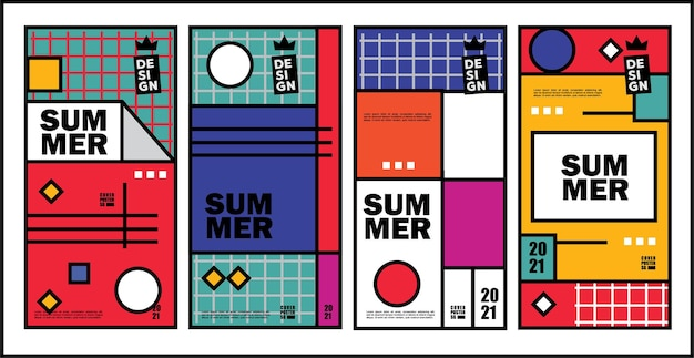 Summer template for stories poster or banner