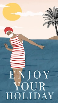 ジョージ・バルビエのアートワークからリミックスされた、休日を楽しむ女性と夏のテンプレートベクトル