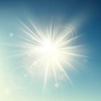 夏テンプレート暖かい春の太陽光線は、レンズフレアでバーストします。