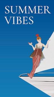 Летний шаблон с женщиной на парусной лодке, позаимствованный из произведений джорджа барбье