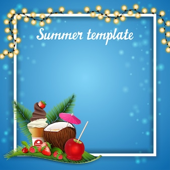 Summer template for your arts with garland and place for text