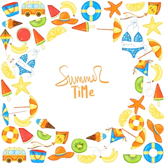 Summer template for your text. cartoon style. vector frame.