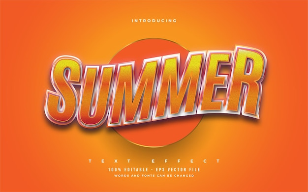 Summer text in bold orange with 3d embossed and wavy effect. editable text style effect