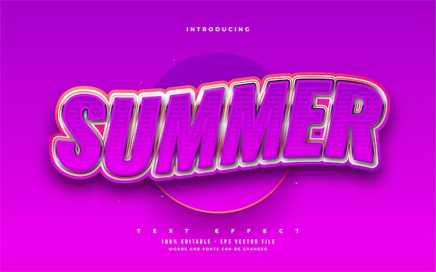 Summer text in bold purple with 3d embossed and wavy effect. editable text style effect