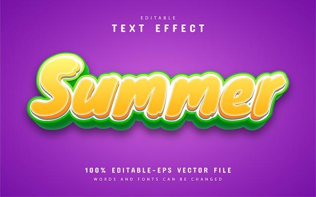 Summer text, cartoon style text effect Premium Vector