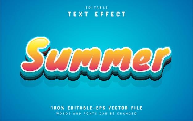 Летний текст, текстовый эффект в мультяшном стиле