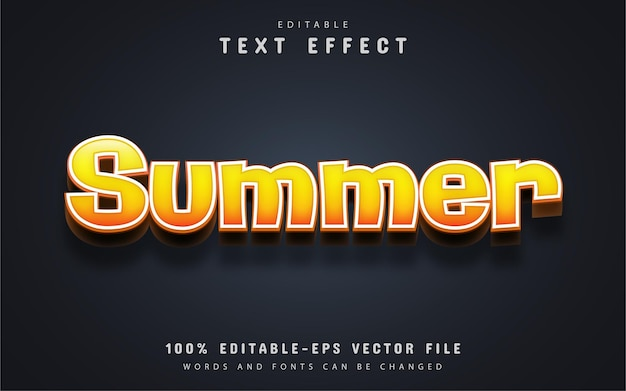 Летний текст, редактируемый текстовый эффект желтого градиента