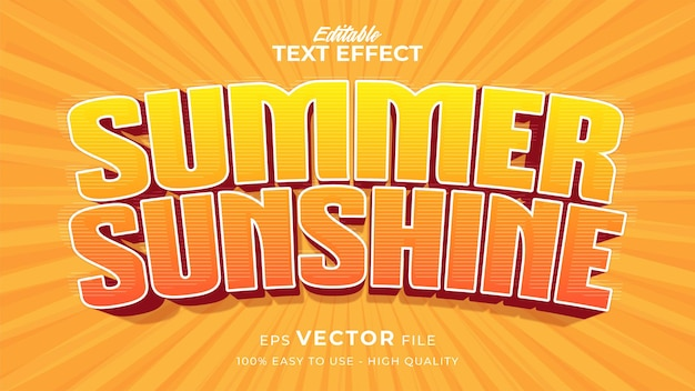 Summer text effect template with cartoon style