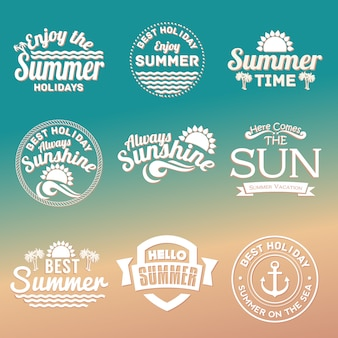 Summer text elements set for summer holiday, travel, beach vacation, sun