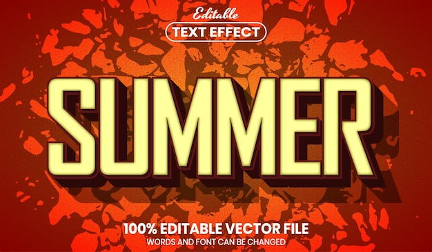 Summer text, font style editable text effect
