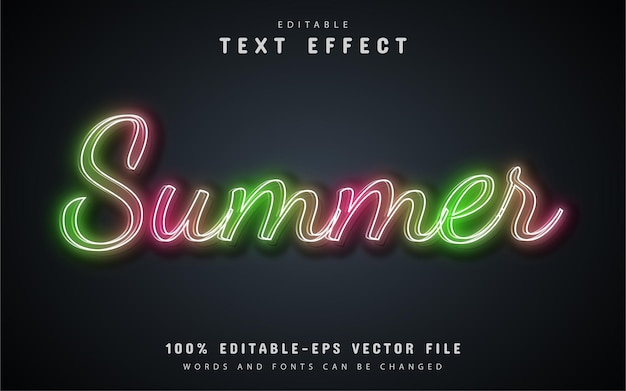 Summer text, neon style text effect