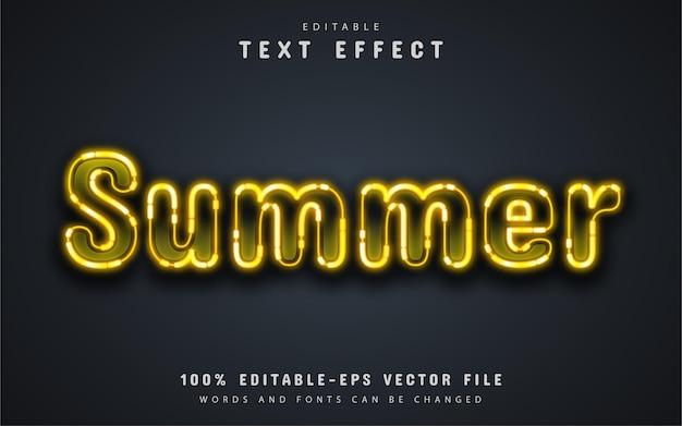 Summer text, yellow neon text effect