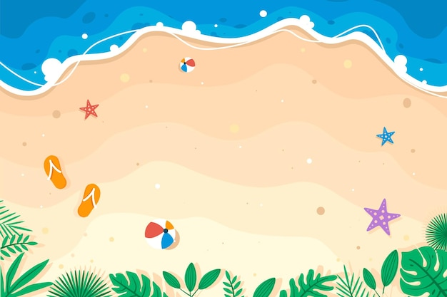 Summer theme banner on beautiful beach and sand background with buoy and fruits premium vector