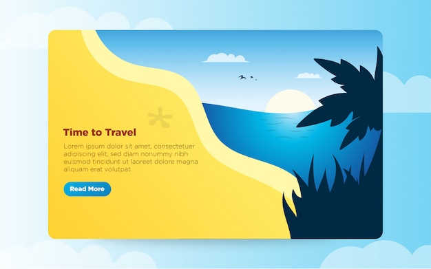 Summer theme banner template vector illustration for landing page